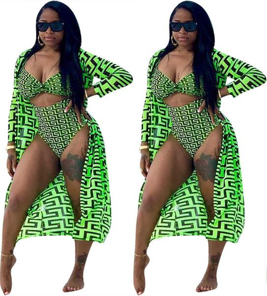 2 Pieces Set Sexy Summer Fashion Women 2019 New Female Tops Print Long Sleeve Cardigan And Bodycon Elastic Waist Bodysuit Suits Swim Wear