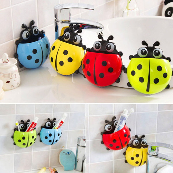 Toothbrush Holder Ladybug Toiletries Holder Rack Wall Mount Suction Stand Cup Attachment Bathroom Accessories 4 Colors