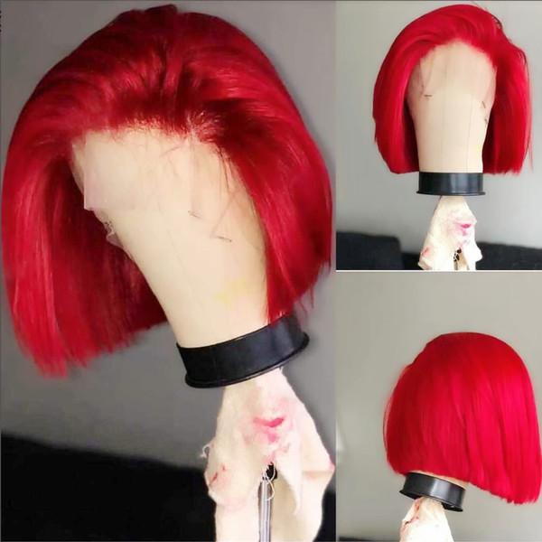 Parrucche di capelli corti di colore rosso dell'innamorato Parrucche di capelli di Bob Glueless Legato parrucca anteriore in pizzo sintetico Fibra resistente al calore Capelli Cosplay Parrucche del partito per le donne