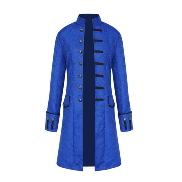 Mens trench coats man fashion Single-breasted long coat men embroidery overcoat long sleeve stand collar singer stage Vintage