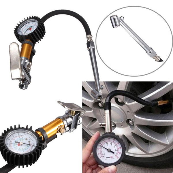 Auto Car Truck Motorcycle Pistol Flexible Hose 220 PSI Tire Pressure Gauge Air Inflator Gun