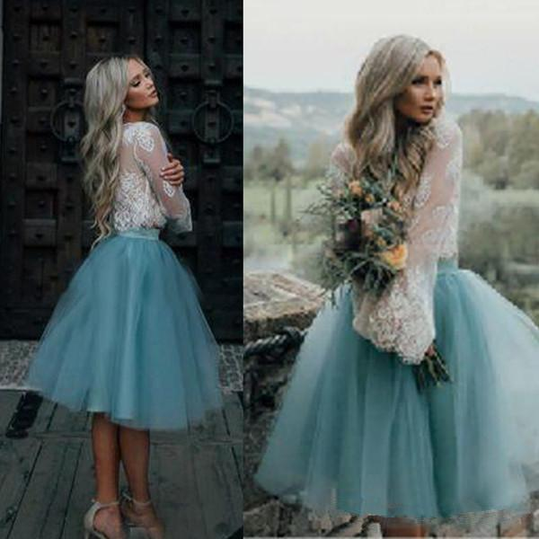 White and Blue Short Wedding Dresses 2019 New Design Simple Style Two Pieces Long Sleeve Lace Tulle Bridal Gowns Vestidos De Noiva W209