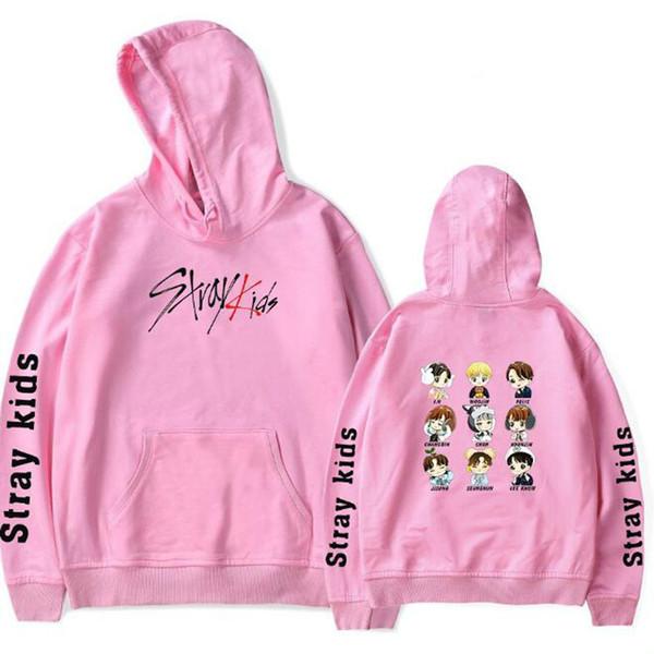 KPOP Straykids Stray Kids Pink Hoodies Harajuku Fleece Long Sleeve Pullover Hooded Sweatshirts Hip Hop Tracksuit Brand-Clothing