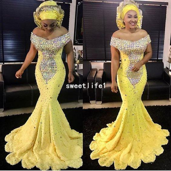 2018 Aso Ebi Style Off The Shoulder Evening Dresses Sparkly Beaded Crystal Fitted Mermaid Tiered Skirts Lace Formal Occasion Prom Party Gown