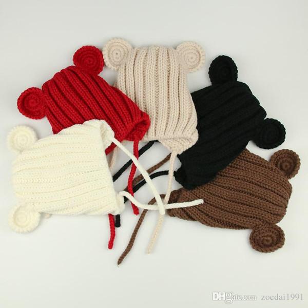 Мышь ухо новорожденного ребенка зимние шапки комплект для вязания детей теплая шерсть медвежонка ушная шапка новорожденного фотография реквизит