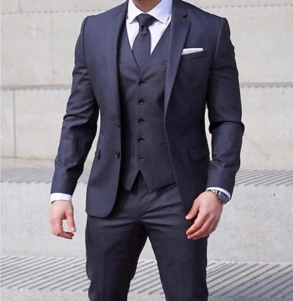 2019 Damat Suit Koyu Mavi İki Düğme Çentikli Yaka SağdıçTuxedos Düğün Takımları (Ceket + Yelek + Pantolon + Kravat)