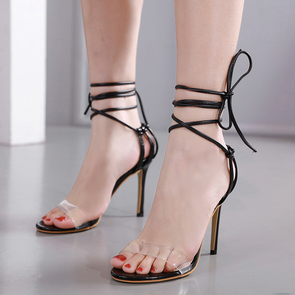 Sandálias cinta Elegante Mulheres PVC Sandálias Serpentina Sapatos transparentes plus size Fina Salto Alto Bombas lace up sandálias YMA833