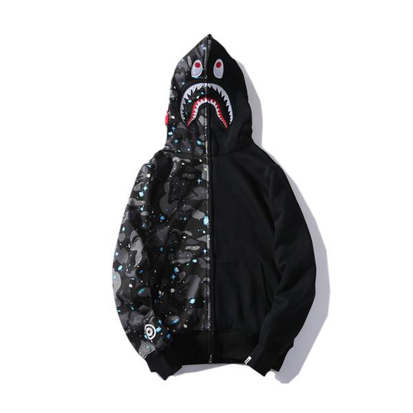 Mens Designer de Moletom Com Capuz Hip Hop Marca Zipper Jaqueta Com Capuz Para A Juventude Streetwear Camisola Dos Homens de Moda Estilo Estrela Tubarão Impressão Casaco