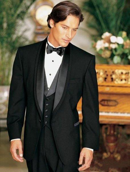 Classic Designe Black Groom Tuxedos Shawl Lapel One Button Groomsmen Mens Wedding Tuxedos Excellent Man Suit(Jacket+Pants+Vest+Tie) 750