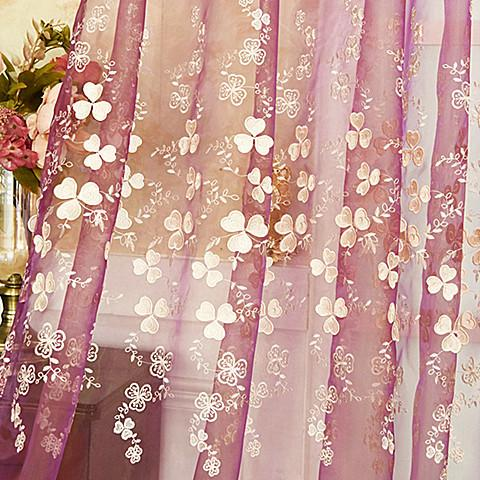 2018 Sheer Curtains for Living Room Embroidered Plum Embossed Pink Bedroom Girl Wedding Princess Tulle Lucky Leaves Curtain