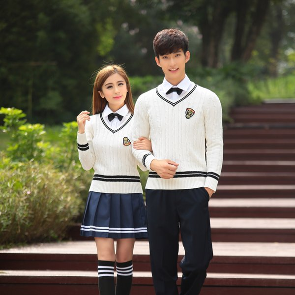 Japan Korea School Uniform Girls Cotton Sweater + Shirt + Skirt Winter Students British School Clothing Set For Men And Women