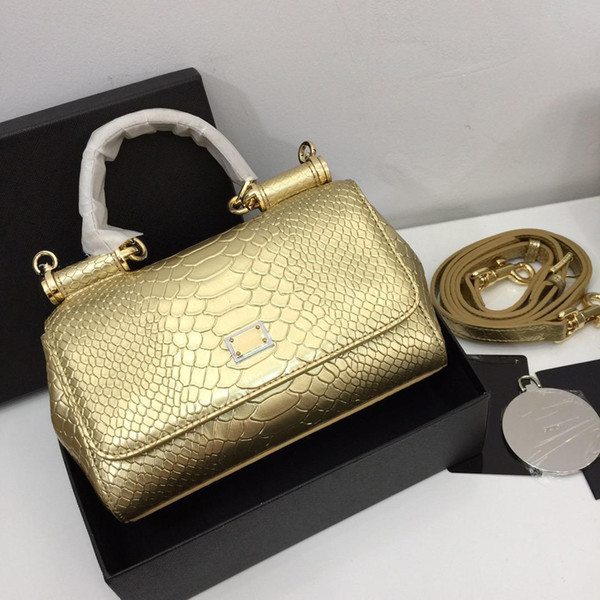 Bright gold crocodile leather shoulder bag cool style ladies high quality and cheap crossbody bag convenient protection big capacity bags