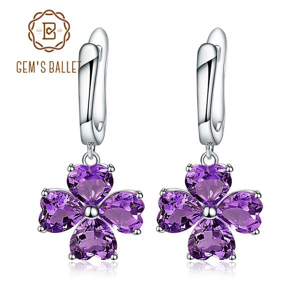 Gem's Ballet Pendientes de trébol de plata esterlina 925 para mujer 3.13Ct Amatista natural Pendientes de flor de piedras preciosas Joyas finas