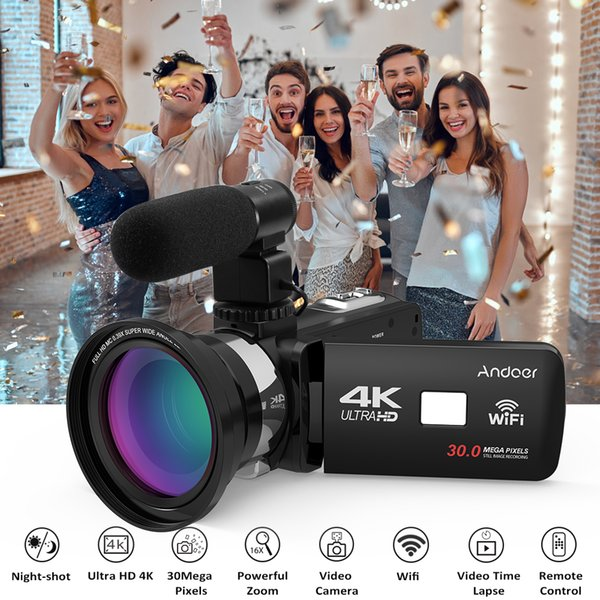 "Andoer 4K Ultra HD WiFi Digital Video Camera Camcorder DV 16X Zoom 3.0""LCD Touchscreen Night Vision with Hot Shoe Mount Full Set"