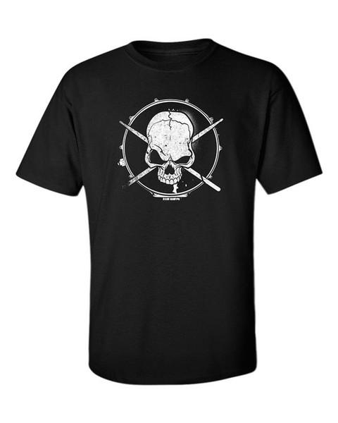 Drummer T-Shirt Drums Kit Metal Rock Skull Men's Goth Musician Rock Death Tee