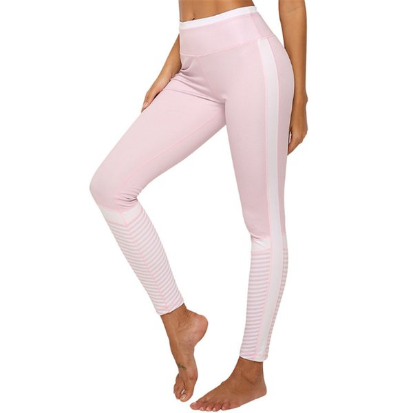 Pink Leggings Sport Women Fitness Yoga Leggings Stripe Patchwork Female Yoga Pants Sport Sexy Mention Hip Gym