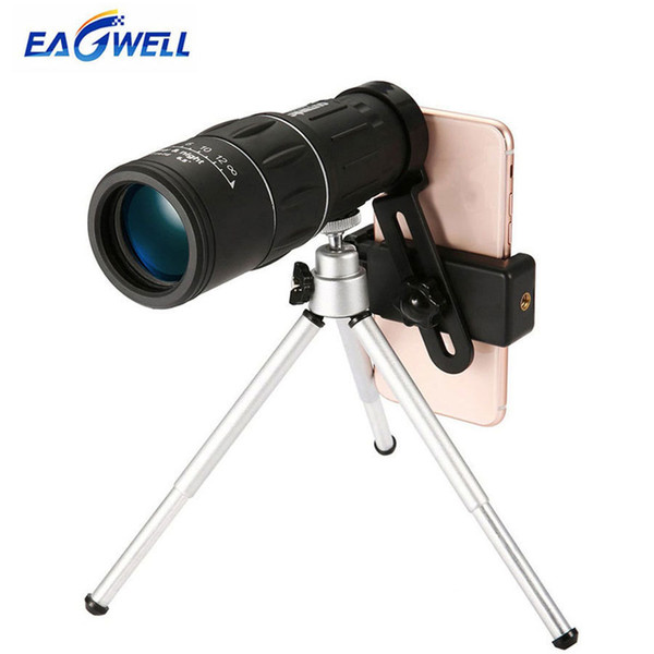 16x52 Dual Focus Telescope Lens Hd Zoom Optical Telephoto Lens Universal For Smartphones Outdoor Camping Fishing With Tripod J190704