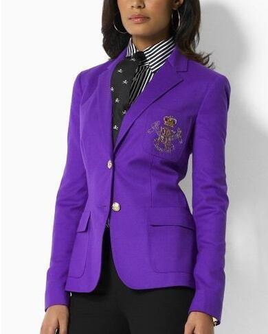 Deluxe USA Mode Femmes Polo Vestes D'hiver À Manches Longues Classique Veste Blazer En Coton Slim Simple Manteau De Loisir Manteau Outwear Violet