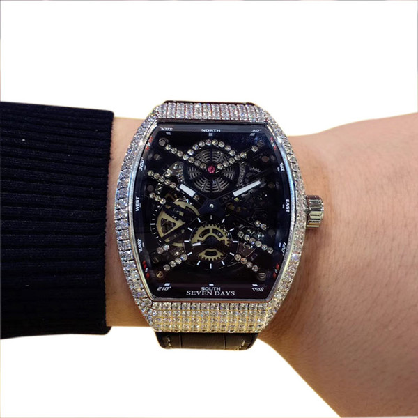 Cheap New Saratoge Vanguard V 45 T SQT Black Hollow Skeleton Dial Automatic Mens Watch Diamond Case/Bezel Leather/Rubber Strap Gents Watches
