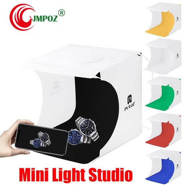 Habitación Doble Mini Caja de luz LED fotografía del estudio de iluminación de disparo Carpa Telón de fondo la caja del cubo Estudio Dropship