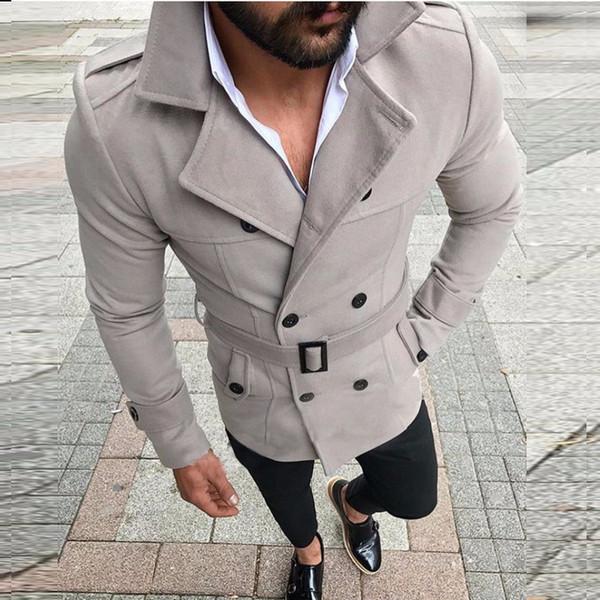 Giacca uomo 2019 Nuovo arrivo Camicia da uomo bavero a doppio petto Abbigliamento da uomo Giacca casual con cintura Stand colletto a maniche lunghe Taglie Taglia S-XL