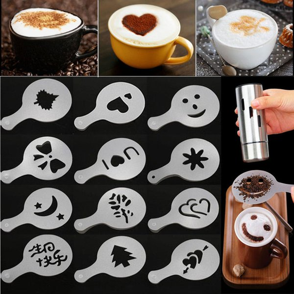 Kahve Elek Filtre Kahve Makinesi Cappuccino Barista Kalıp Şablonları, uzerine Çiçekler Pad Sanat Kahve Araçları 16pcs Sprey / lot WX9-1769