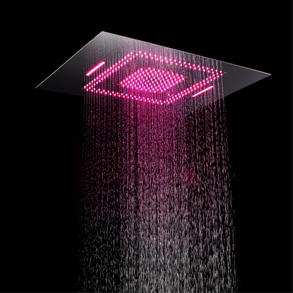 Rainfall Shower Heads Led Light Remote Control Shower Head 600*800mm Ceiling Rain Shower Waterfall Massage Bathroom Showerheads