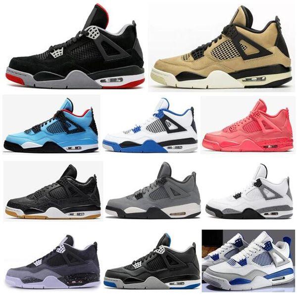 Yeni 4s Mantar Bred Lazer Siyah Sakız Sıcak Punch Erkekler Basketbol Ayakkabı Kutusu ile 4 Motorsporları Oyun Kraliyet Korku Paketi Askeri Mavi Sneakers