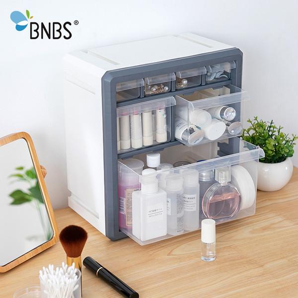 BNBS Plastic Storage Box Cosmetic Organizer Desktop Multi-layer Drawer Case Tools Bead Rings Jewelry Makeup Organizer