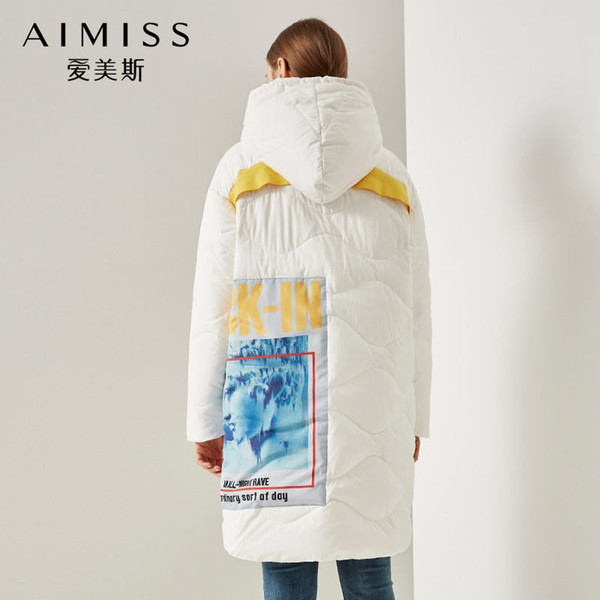 AIMISS Brand New Down Jacket White Color Printed Zippers Loose Hooded Long Down Coat Thick Winter Outwear Clothes