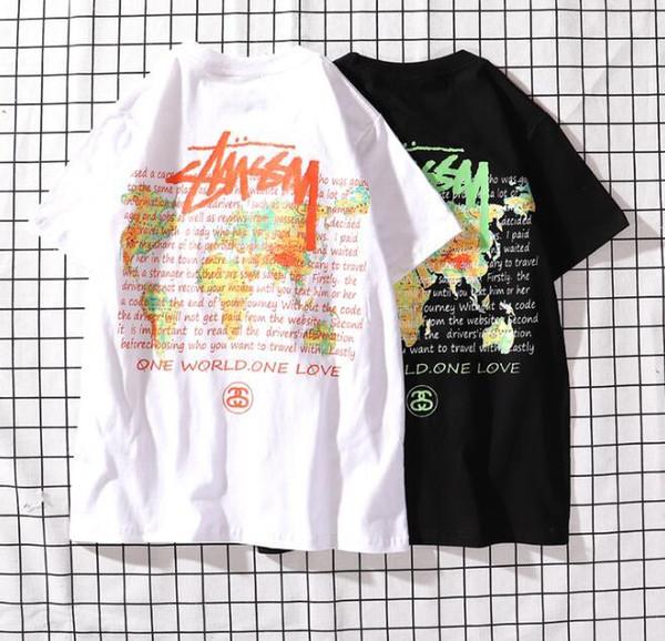 2019 explosiones europeas y americanas verano nuevo cuello redondo mapamundi de algodón impreso camiseta de manga corta de los hombres, corto-sl