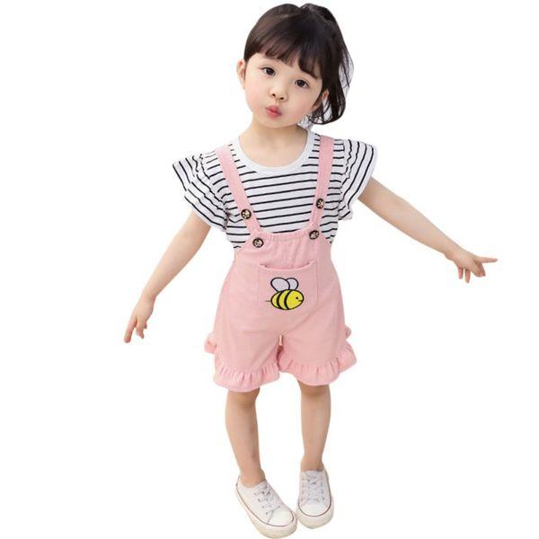 Yenidoğan Toddler Bebek Kız Setleri Kelebek Kollu Rahat Şerit T-shirt + Karikatür Askı Pantolon Tulumları Kıyafetler Set 0-4Y.
