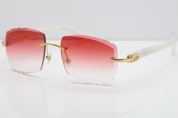 Occhiali da sole senza montatura Marmo caldo bianco Aztec SunGlasses Bracciali in metallo caldo Mix 3524012 Occhiali da sole Occhiali da sole unisex con occhio di gatto Lenti rosse