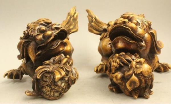 "NEW "" China Chinese Folk Fengshui Bronze Lion Foo Dog Son Ball Statue Sculpture D0317"