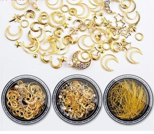1box Mixed 2019 Crystal Rhinestones Hollow Metal Studs 3d Gold Silver Moon Star Rivets Glitter Decoration Diy Nail Art Accessories