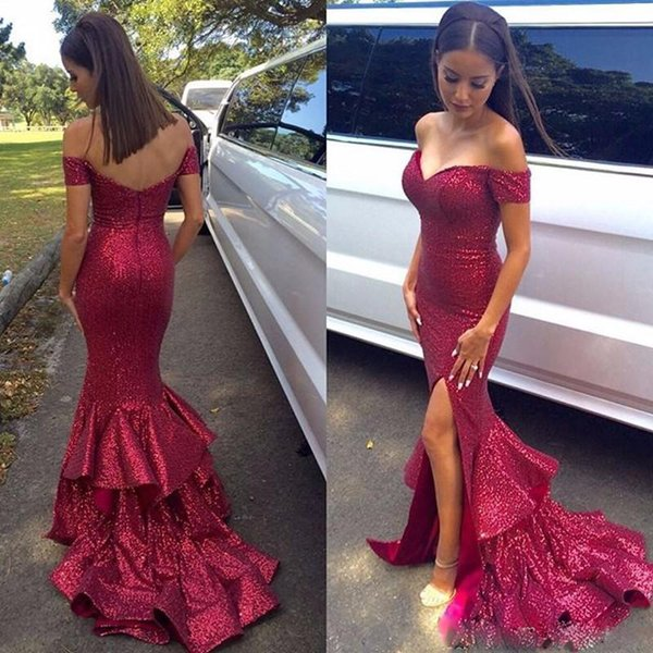 Sparkly Burgundy Mermaid Bridesmaid Dresses Off the Shoulder Side Split Sequined Party Dress Ruffles Tiered Sweep Train Cocktail Gown