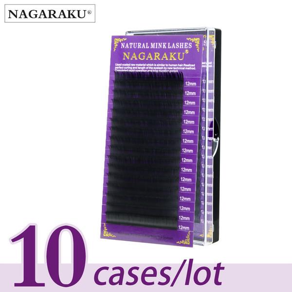 NAGARAKU 10 cases/lot High quality mink eyelash extension individual eyelashes natural eyelashes make up fake false eyelashes D19011701