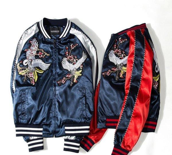 Mode-grues Impression Designer Bomber vestes pour hommes Nouveau satin Fabrics pied de col Varsity hip hop veste de manteau uniforme de baseball