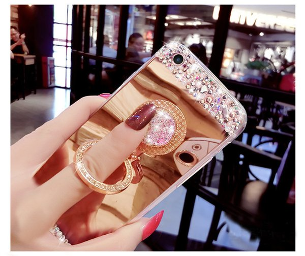 Diamond Plated Mirror Phone Case For i phone 6 case Cover Finger Ring Holder Stand Case For iPhone X XS XR XS MAX 7 8 Plus 6S PLUS