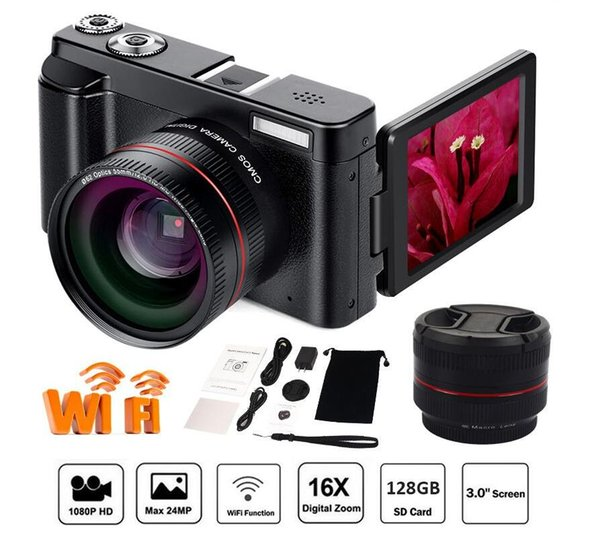 Portable Mirrorless System Cameras 16X Digital Zoom 24MP 3.0-Inch TFT Screen Face Recognition Anti-shake HD WiFI Camera
