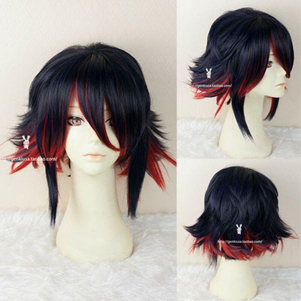 Kill la kill Matoi Ryuko Short Dark Blue With Red Cosplay Hair Wigs + Wig Cap