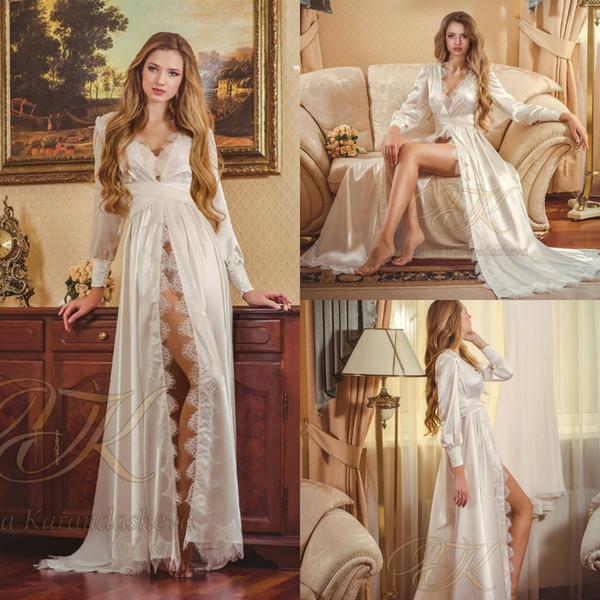 Кружева Свадебные Nightgown Robe Ночь платье шелк Длинные рукава рубашки Nightgown Женщины пижамы Ночное Для новобрачных будуар платье