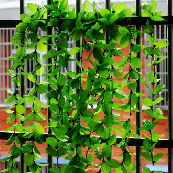 2M Artificial Ivy Green Leaf Garland Plants Vine Fake Foliage Flowers Home Garden Decoration Plastic Fake Flowers Rattan String