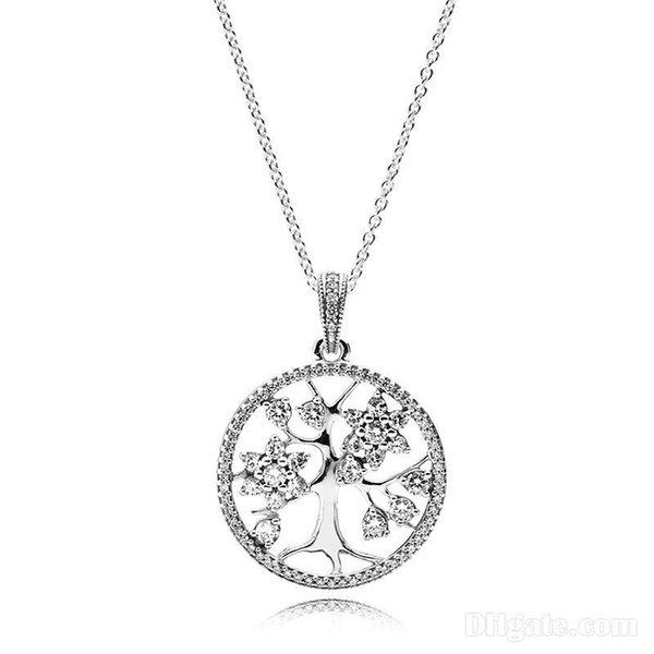 Pendant Necklaces 925 Sterling Silver family tree of life Pendant Necklace with Logo engraved Fit Pandora Jewelry Men Women Necklace
