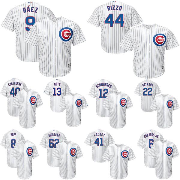 Chicago Men's Cubs Javier Baez jerseys Anthony Rizzo Kris Bryant Ryne Sandberg Willson Contreras White Home Cool Base Baseball Jersey