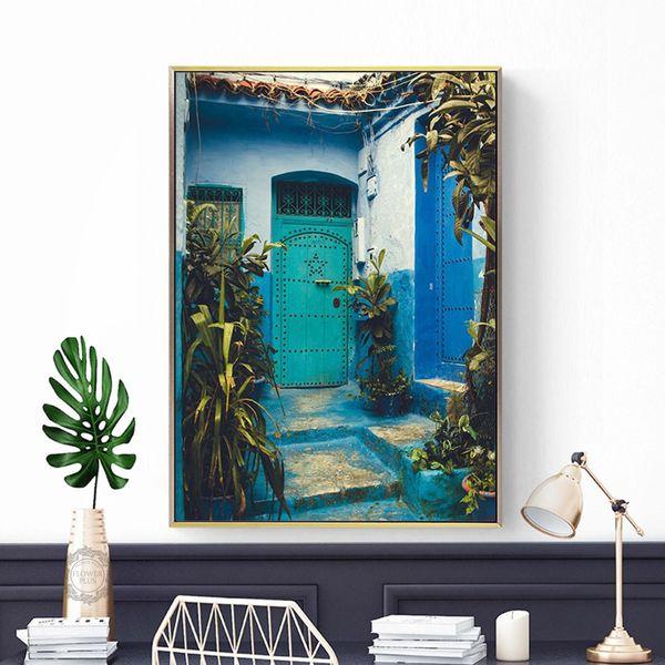 Decoracion Дверь Плакаты и Принты Дизайн Архитектура Картины на холсте картина нордическая Исламская Настенные панно для гостиной