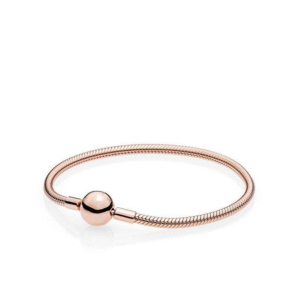 2019 Güzel Kadınlar 18 K Rose Gold 3mm Yılan Zincir Bilezik Fit Pandora Gümüş Takılar Avrupa Boncuk Bilezik DIY takı Yapımı