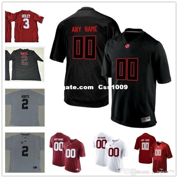 Custom Alabama Crimson Tide College Football red Pro Combat black Blackout white Heather Gridiron Gray Stitched Any Name Number 9 2 3 Jersey