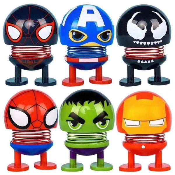 Sıcak satış Avengers Sallayarak Kafa Bebek Araba Dashboard Süsler Springs Dans Oyuncak Noverty Komik Oyuncaklar Araba Dekorasyon Ücretsiz Kargo