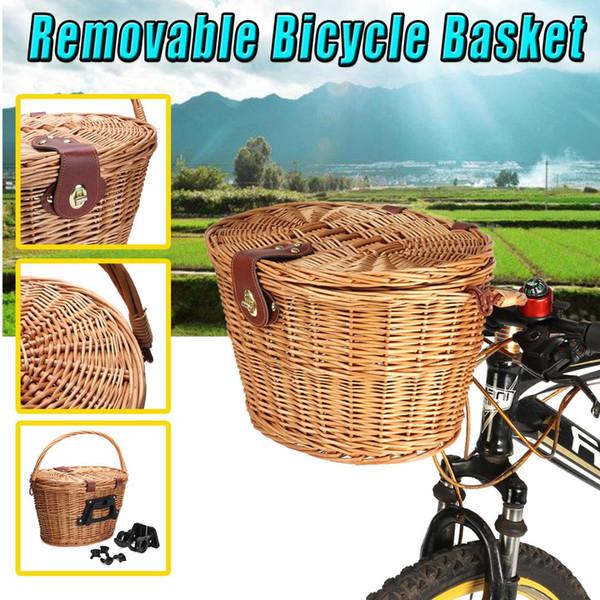 Vintage Hasır Deri Sapanlar Bisiklet Ön Sepet El Sanatları Keten Kapaklı Su Geçirmez Kolu Açık Piknik 13.78